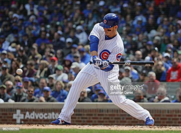 Anthony Rizzo of the Chicago Cubs bats against the Milwaukee Brewers at Wrigley Field on April 27 2018 in Chicago Illinois The Cubs defeated the...