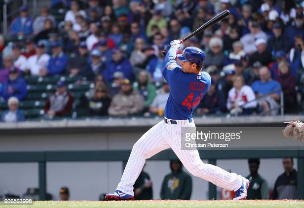 Anthony Rizzo of the Chicago Cubs bats against the Oakland Athletics during the spring training game at Sloan Park on February 28 2018 in Mesa Arizona