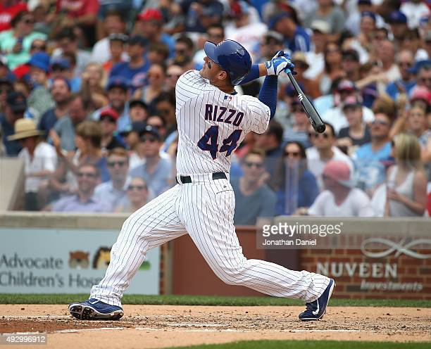 Anthony Rizzo of the Chicago Cubs bats against the Phiuladelphia Phillies at Wrigley Field on July 24 2015 in Chicago Illinois The Phillies defeated...