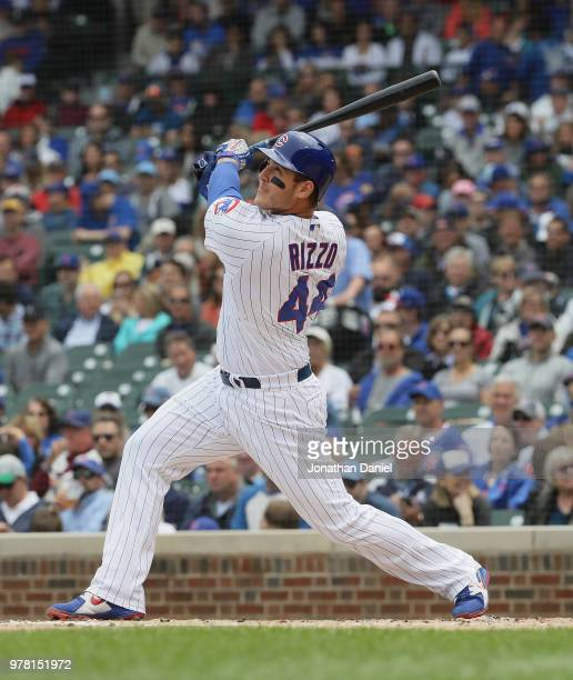 Anthony Rizzo of the Chicago Cubs bats against the Pittsburgh Pirates at Wrigley Field on June 8 2018 in Chicago Illinois The Cubs defeated the...