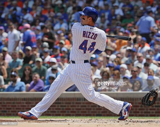 Anthony Rizzo of the Chicago Cubs bats against the San Francisco Giants at Wrigley Field on May 25 2018 in Chicago Illinois The Cubs defeated the...