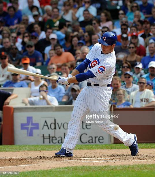 Anthony Rizzo of the Chicago Cubs bats against the San Francisco Giants on September 2 2012 at Wrigley Field in Chicago Illinois