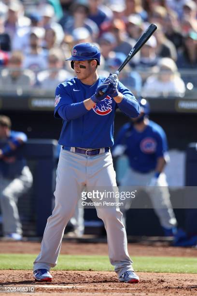 Anthony Rizzo of the Chicago Cubs bats against the Seattle Mariners during the second inning of the MLB spring training game at Peoria Stadium on...