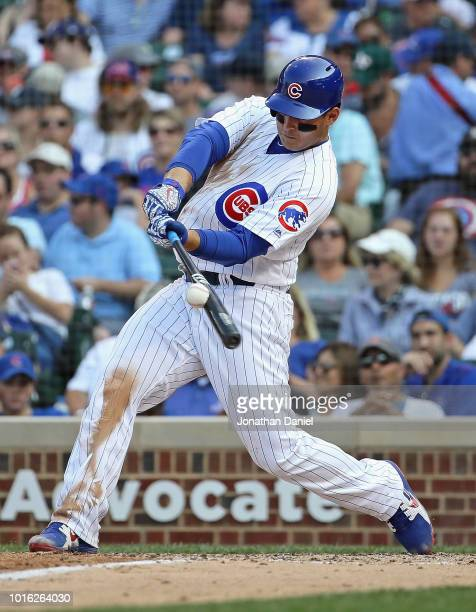 Anthony Rizzo of the Chicago Cubs bats against the Washington Nationals at Wrigley Field on August 11 2018 in Chicago Illinois The Nationals defeated...