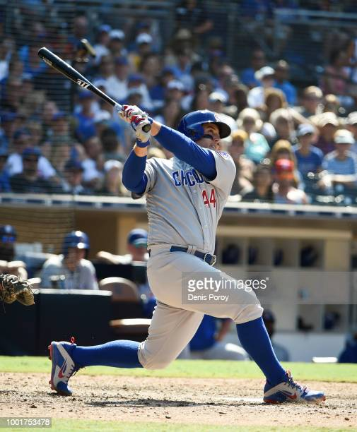 Anthony Rizzo of the Chicago Cubs bats during a baseball game against the San Diego Padres at PETCO Park on July 15 2018 in San Diego California