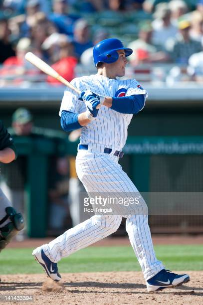 Anthony Rizzo of the Chicago Cubs bats during a spring training game against the Oakland Athletics at HoHoKam Stadium on March 4 2012 in Mesa Arizona