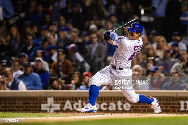Anthony Rizzo of the Chicago Cubs bats during the game against the Pittsburgh Pirates at Wrigley Field on Thursday September 27 2018 in Chicago...