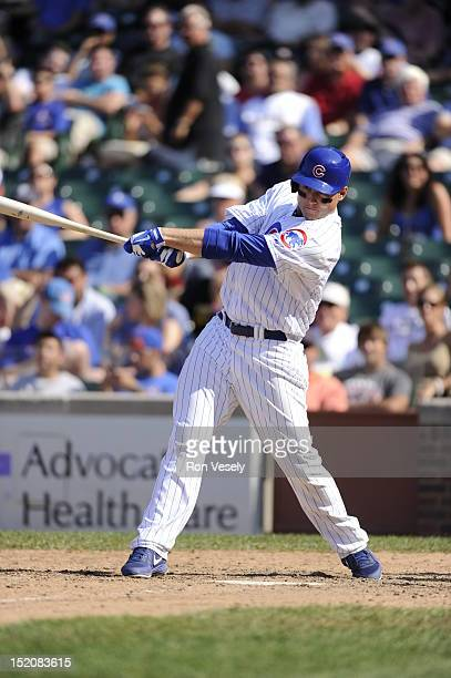 Anthony Rizzo of the Chicago Cubs bats during the game against the Pittsburgh Pirates on August 1 2012 at Wrigley Field in Chicago Illinois The...