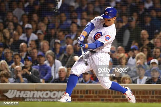 Anthony Rizzo of the Chicago Cubs bats during the National League Wild Card game against the Colorado Rockies at Wrigley Field on Tuesday October 2...
