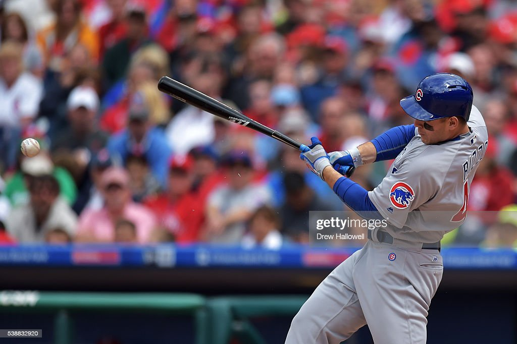 Anthony Rizzo #44 of the Chicago Cubs breaks his bat in the sixth inning against the Philadelphia Phillies at Citizens Bank Park on June 8, 2016 in Philadelphia, Pennsylvania. The Cubs won 8-1.