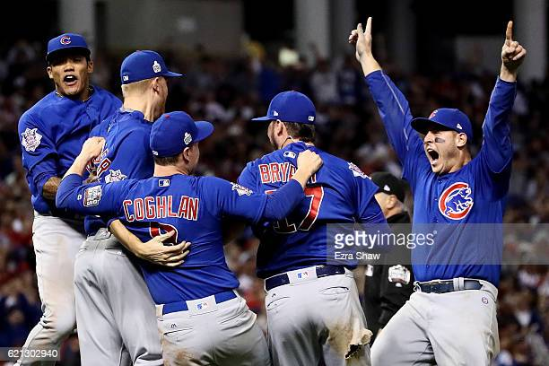 Anthony Rizzo of the Chicago Cubs celebrate with his teammates after defeating the Cleveland Indians 87 in Game Seven of the 2016 World Series at...