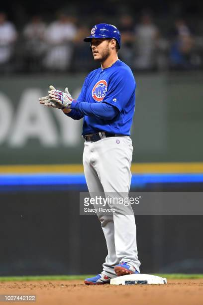 Anthony Rizzo of the Chicago Cubs celebrates a double against the Milwaukee Brewers during the fifth inning at Miller Park on September 5 2018 in...