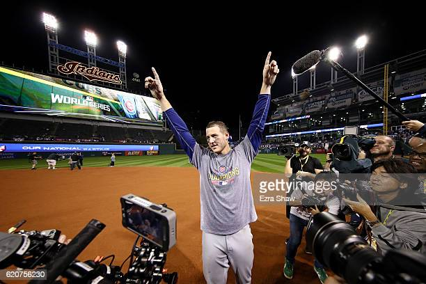 Anthony Rizzo of the Chicago Cubs celebrates after defeating the Cleveland Indians 87 in Game Seven of the 2016 World Series at Progressive Field on...