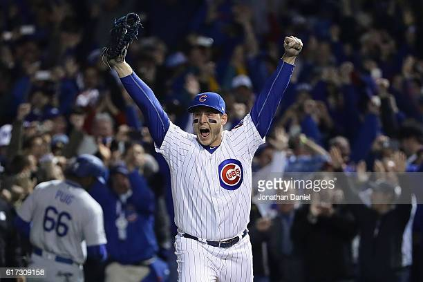 Anthony Rizzo of the Chicago Cubs celebrates after defeating the Los Angeles Dodgers 5-0 in game six of the National League Championship Series to...
