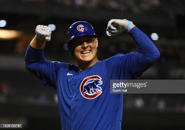 Anthony Rizzo of the Chicago Cubs celebrates after hitting a solo home run off of Madison Bumgarner of the Arizona Diamondbacks during the fourth...