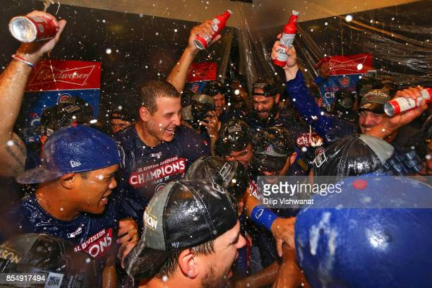 Anthony Rizzo of the Chicago Cubs celebrates after winning the National League Central title against the St Louis Cardinals at Busch Stadium on...
