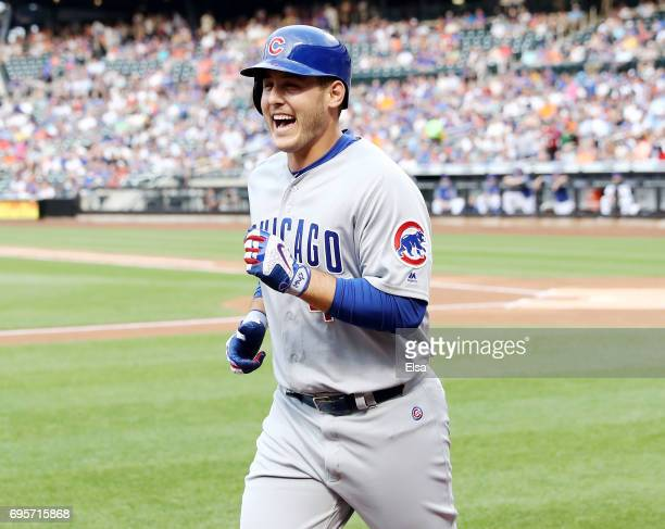 Anthony Rizzo of the Chicago Cubs celebrates as he heads for the dugout in the first inning against the New York Mets on June 13 2017 at Citi Field...