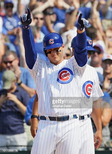 Anthony Rizzo of the Chicago Cubs celebrates his pinch hit run scoring single in the 7th inning against the San Diego Padres at Wrigley Field on...