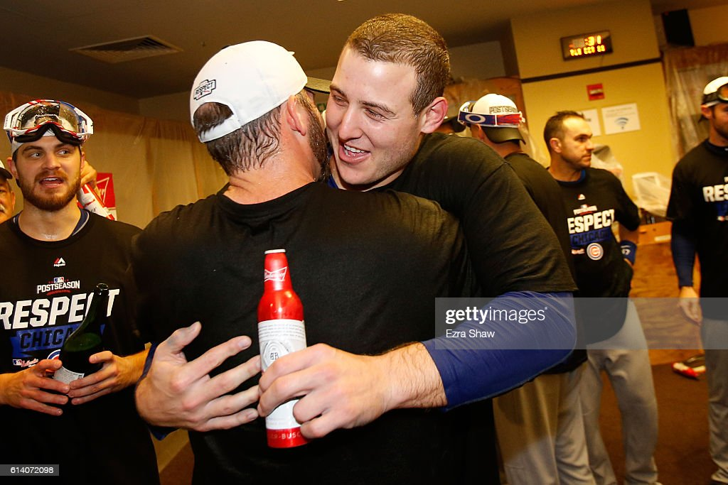 Anthony Rizzo #44 of the Chicago Cubs celebrates in the locker room after defeating the San Francisco Giants 6-5 in Game Four of their National League Division Series to advance to the National League Championship Series at AT&T Park on October 11, 2016 in San Francisco, California.
