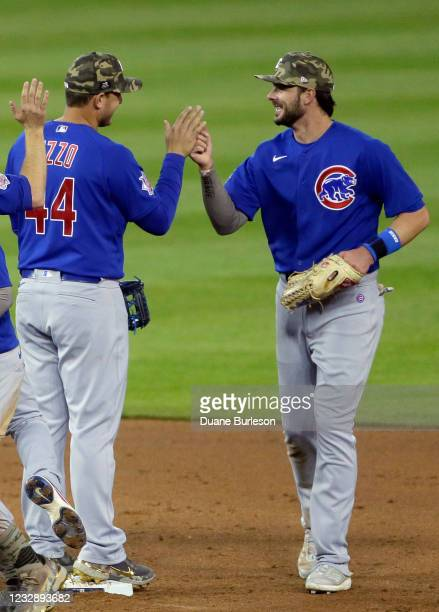 Anthony Rizzo of the Chicago Cubs celebrates with Kris Bryant after a 4-2 victory against the Detroit Tigers at Comerica Park on May 14, 2021 in...