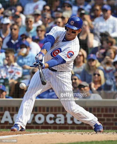 Anthony Rizzo of the Chicago Cubs collects the 1000th hit of his career a single in the 3rd inning against the Washington Nationals at Wrigley Field...
