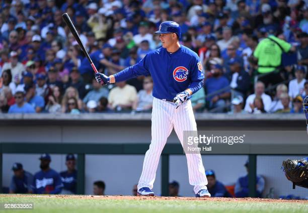 Anthony Rizzo of the Chicago Cubs gets ready in the batters box during a spring training game against the Los Angeles Dodgers on March 6 2018 in Mesa...
