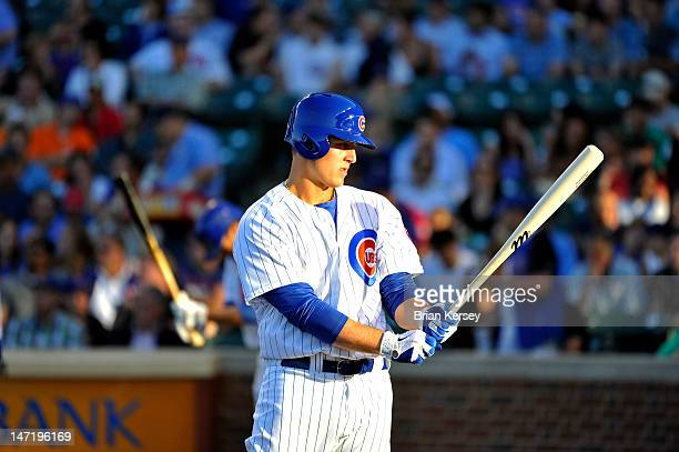 Anthony Rizzo of the Chicago Cubs gets ready to bat during the first inning against the New York Mets at Wrigley Field on June 26 2012 in Chicago...