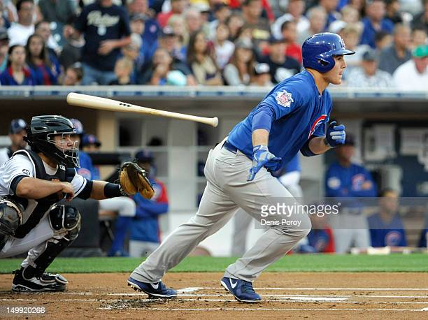 Anthony Rizzo of the Chicago Cubs grounds out during the first inning of a baseball game against the San Diego Padres at Petco Park on August 6 2012...