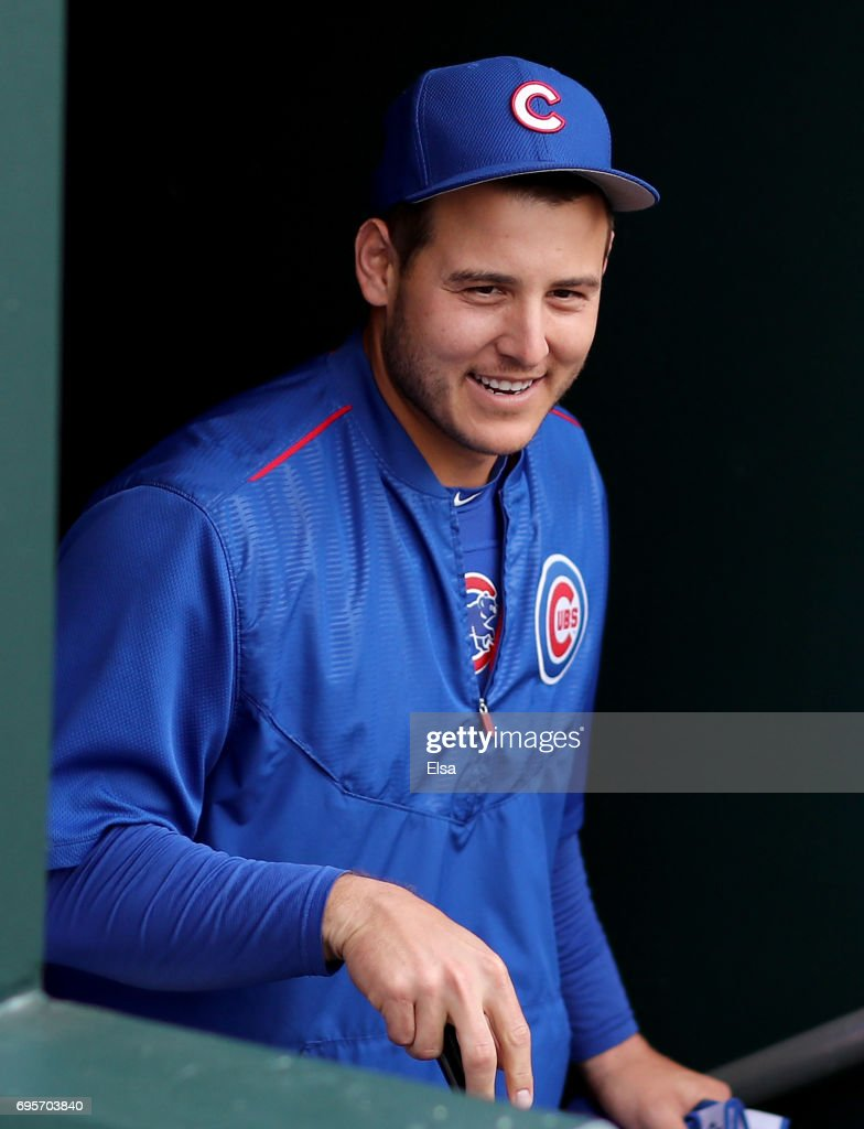 Anthony Rizzo #44 of the Chicago Cubs heads out for batting practice before the game against the New York Mets on June 13, 2017 at Citi Field in the Flushing neighborhood of the Queens borough of New York City.