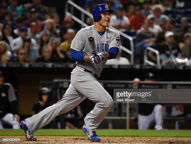 Anthony Rizzo of the Chicago Cubs hits a 3 rbi double in the fifth inning during the game against the at Marlins Park on March 31 2018 in Miami...