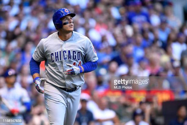 Anthony Rizzo of the Chicago Cubs hits a home run against the Milwaukee Brewers at Miller Park on Saturday, July 27, 2019 in Milwaukee, Wisconsin.