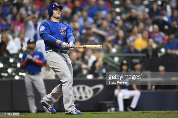 Anthony Rizzo of the Chicago Cubs hits a home run against the Milwaukee Brewers during the 11th inning at Miller Park on June 11 2018 in Milwaukee...