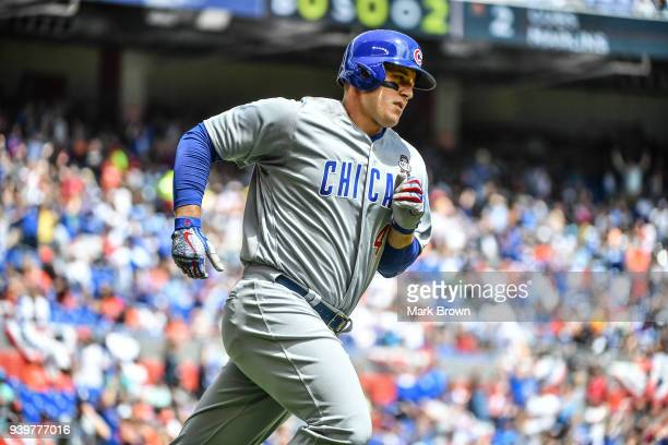Anthony Rizzo of the Chicago Cubs hits a homerun in the second inning during Opening Day against Miami Marlins at Marlins Park on March 29 2018 in...