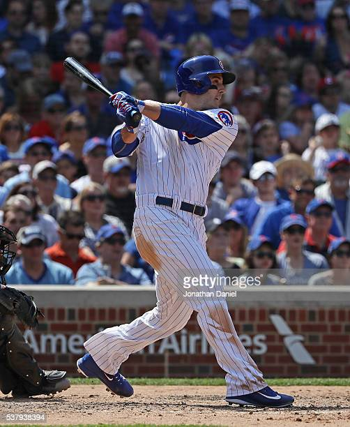 Anthony Rizzo of the Chicago Cubs hits a run scoring double in the 6th inning against the Arizona Diamondbacks at Wrigley Field on June 3 2016 in...