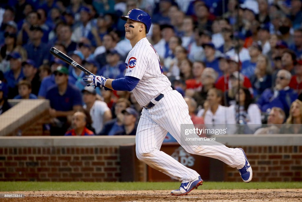Anthony Rizzo #44 of the Chicago Cubs hits a single in the eighth inning against the Washington Nationals during game three of the National League Division Series at Wrigley Field on October 9, 2017 in Chicago, Illinois.
