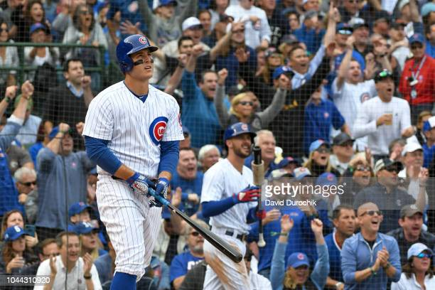 Anthony Rizzo of the Chicago Cubs hits a solo home run during the fifth inning against the Milwaukee Brewers on Monday October 1 2018 at Wrigley...