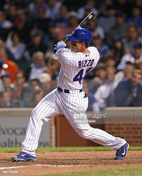 Anthony Rizzo of the Chicago Cubs hits a solo home run his 11th of the season in the 7th inning against the New York Mets at Wrigley Field on June 5...