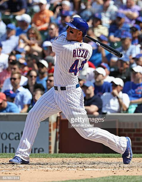 Anthony Rizzo of the Chicago Cubs hits a solo home run in the 8th inning against the Los Angeles Dodgers at Wrigley Field on June 2 2016 in Chicago...