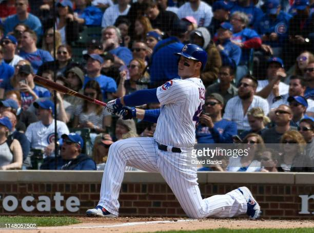 Anthony Rizzo of the Chicago Cubs hits a two run home run against the Miami Marlins during the fifth inning at Wrigley Field on May 09 2019 in...