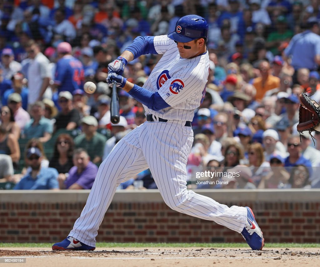 Anthony Rizzo #44 of the Chicago Cubs hits an RBI double in the first inning against the San Francisco Giants at Wrigley Field on May 25, 2018 in Chicago, Illinois.