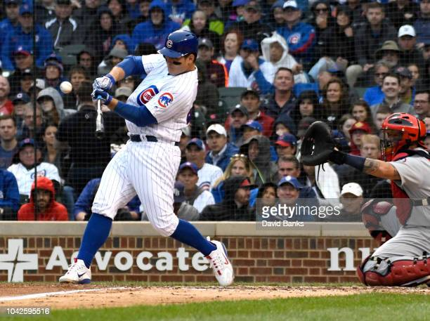 Anthony Rizzo of the Chicago Cubs hits an RBI sacrifice fly ball against the St Louis Cardinals during the fifth inning on September 28 2018 at...