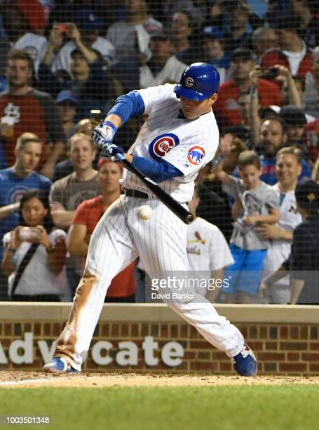 Anthony Rizzo of the Chicago Cubs hits an RBI single against the St Louis Cardinals during the sixth inning during game two of a doubleheader on July...