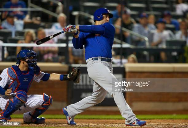 Anthony Rizzo of the Chicago Cubs in action against the New York Mets at Citi Field on June 2 2018 in the Flushing neighborhood of the Queens borough...
