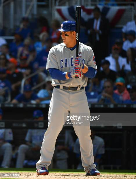 Anthony Rizzo of the Chicago Cubs in action during Opening Day against the at Marlins Park on March 29 2018 in Miami Florida Anthony Rizzo