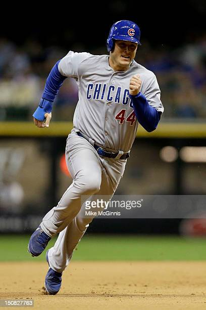 Anthony Rizzo of the Chicago Cubs in action during the game against the Milwaukee Brewers at Miller Park on August 21 2012 in Milwaukee Wisconsin