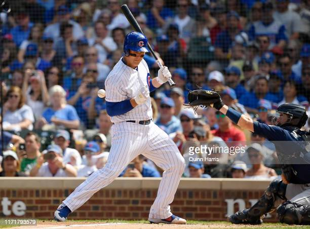 Anthony Rizzo of the Chicago Cubs is hit by pitch in the third inning against the Seattle Mariners at Wrigley Field on September 02, 2019 in Chicago,...