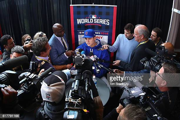 Anthony Rizzo of the Chicago Cubs is interviewed during Media Day for the 2016 World Series at Progressive Field on October 24 2016 in Cleveland Ohio
