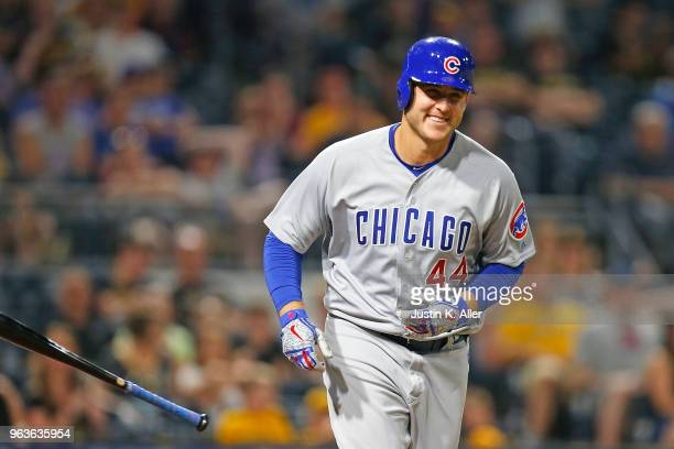 Anthony Rizzo of the Chicago Cubs laughs after walking in the eighth inning against the Pittsburgh Pirates at PNC Park on May 29 2018 in Pittsburgh...