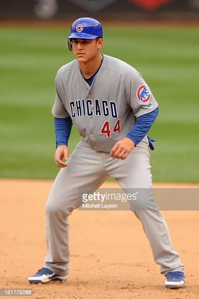 Anthony Rizzo of the Chicago Cubs leads off first base during a baseball game against the Washington Nationals on September 3 2012 at Nationals Park...