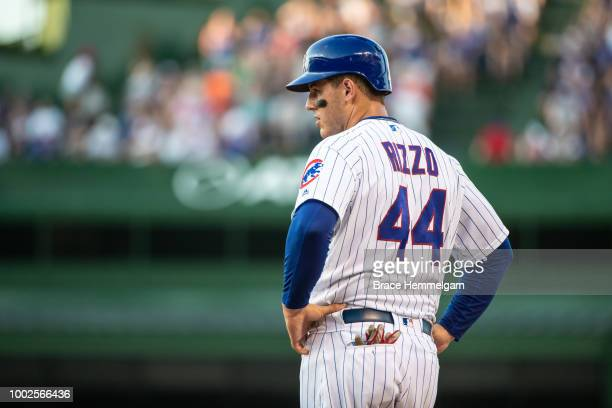 Anthony Rizzo of the Chicago Cubs looks on against the Minnesota Twins on June 29 2018 at Wrigley Field in Chicago Illinois The Cubs defeated the...